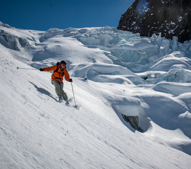 greenalnd - ski touring at the side of a glacier