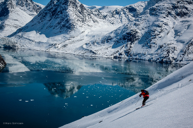 heli-skiing Kangaamiut, glaciers and mountains of eastern greenland