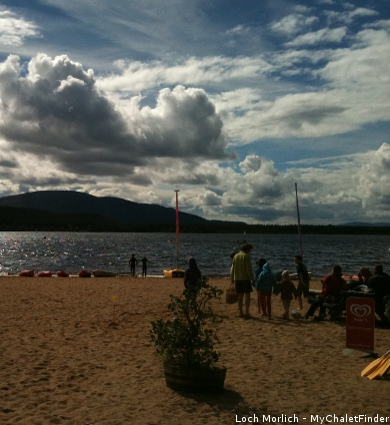 loch morlich, aviemore, watersports on loch morlich, cairngorms in the scottish highlands
