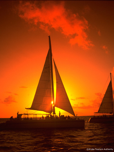 sailing at sunset in st-vincenta nd the grenadine islands, caribbean