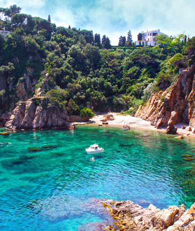 cliffs, cove, summer holiday villas on catalan costa brava