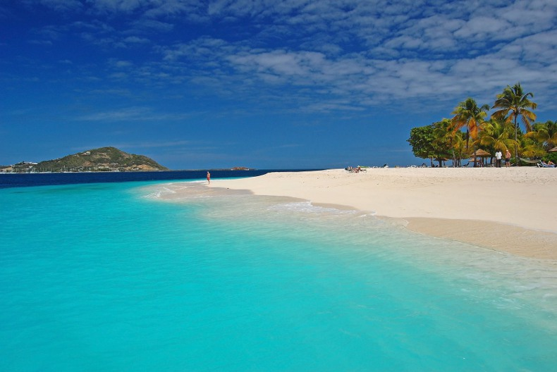 stunning and beautiful white sandy palm beach on saint vincent and the grenadines, caribbean