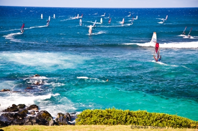 Windsurfers at Hookipa beach, maui