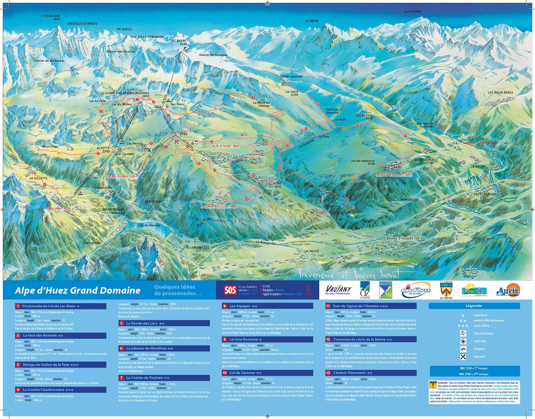 Full Size Piste Map For Alpe d\'Huez