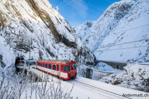 trains to andermatt via Schöllenen Gorge