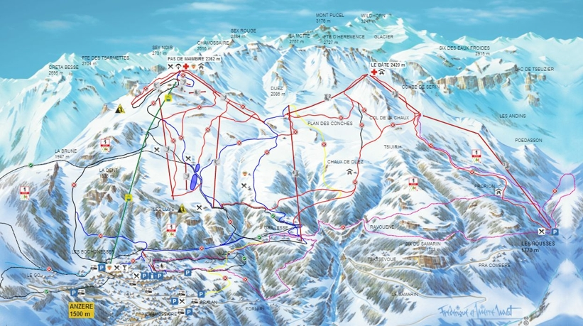 Piste map for Anzere