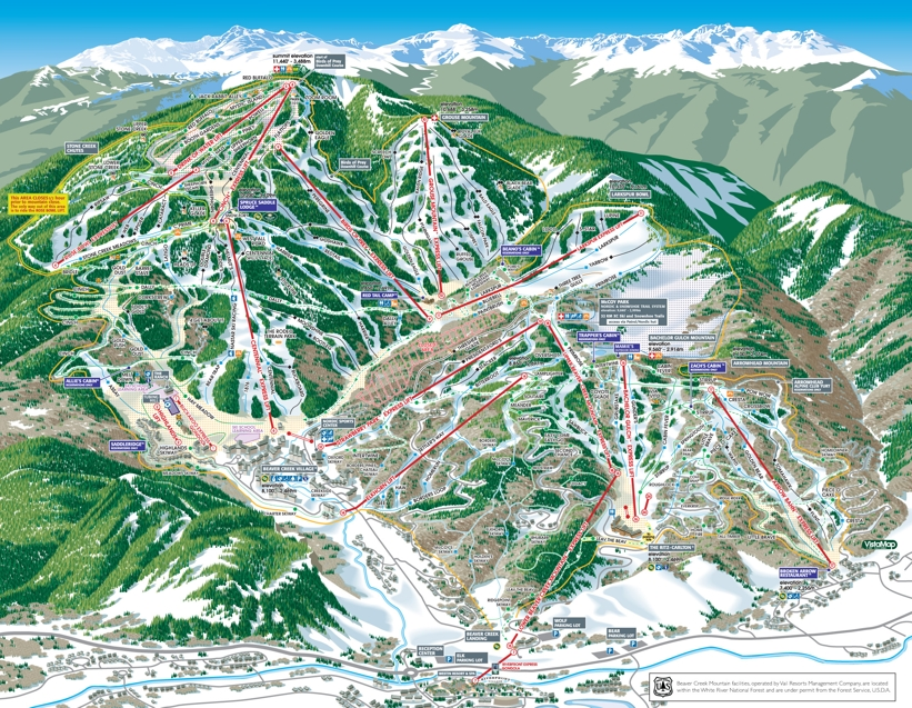Skiing In Beaver Creek L Piste Trail Map My Chalet Finder - Beavercreek trail map
