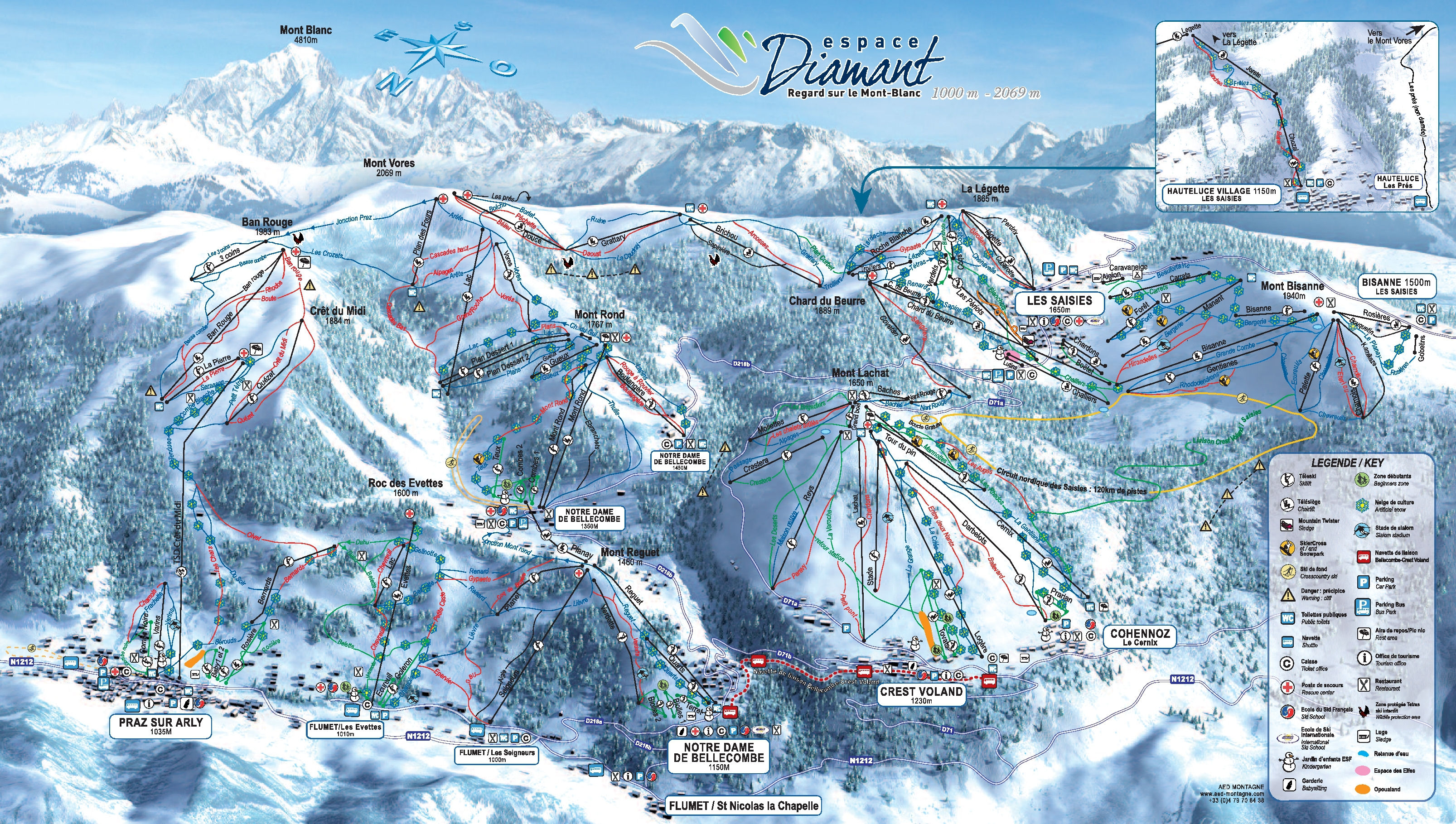 Bisanne1500 Piste Map Skiing Espace Diamant My Chalet Finder