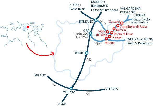 map showing the directions to canazei ski resorts in val di fassa