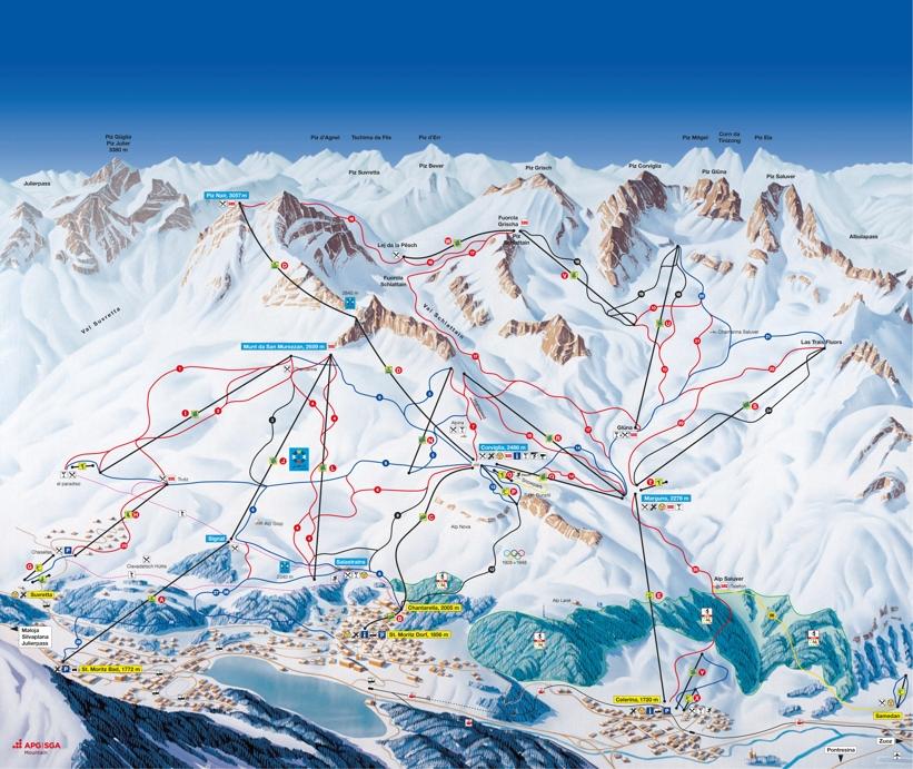 Celerina Piste Map Ski Area Map CorvigliaPiz Nair My Chalet Finder