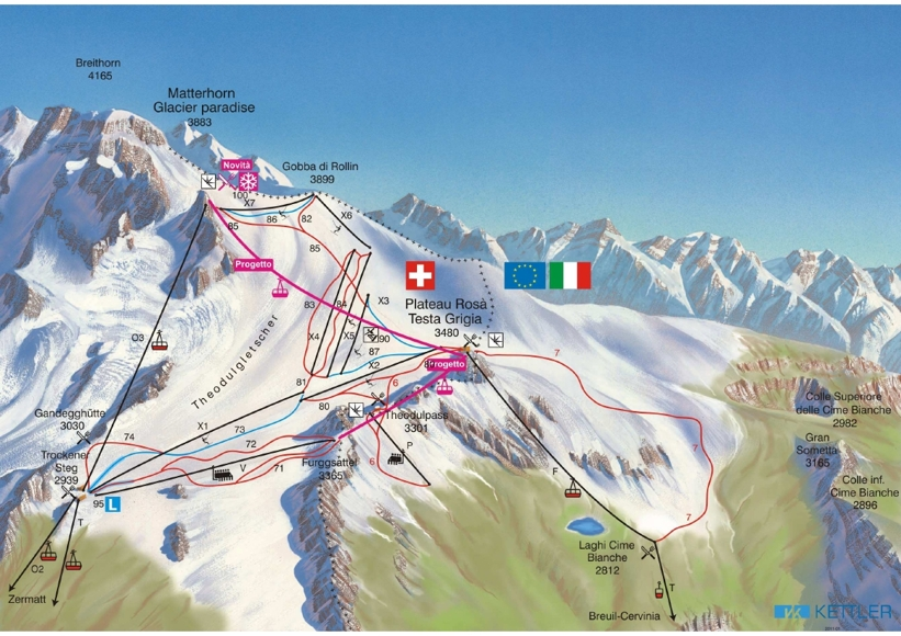 Cervinia Piste Map Ski Area Cervinia Trail Map My Chalet Finder