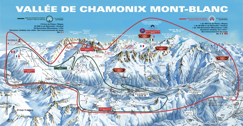 Piste map for Chamonix