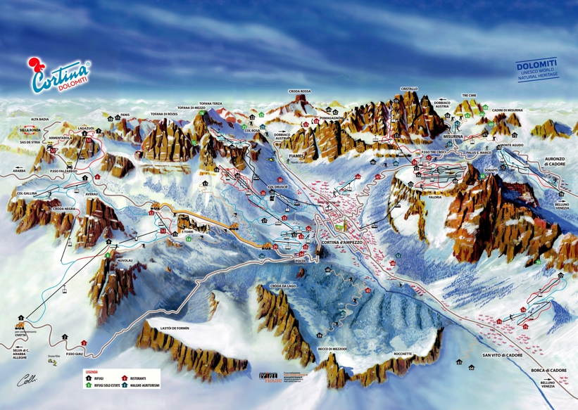 Piste map for Cortina