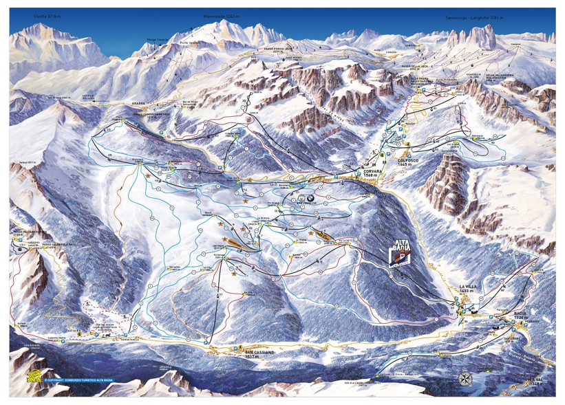 Corvara Piste Map Ski Area Sella Ronda Trail Map My Chalet Finder