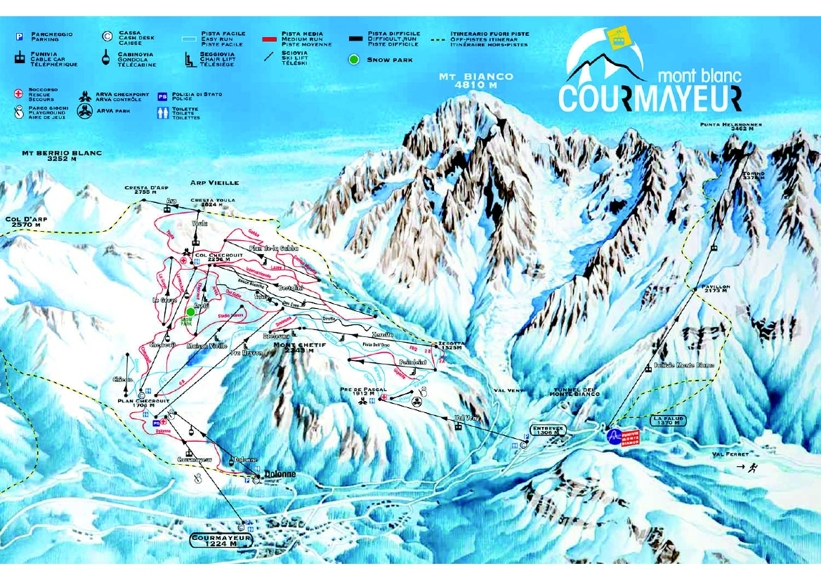 Courmayeur Piste Map Ski Area Trail Map My Chalet Finder