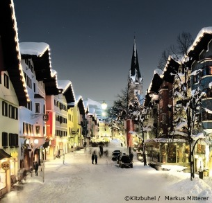 Ski Holidays In Kitzbühel Austria Town Centre With Snow Skiing Chalets