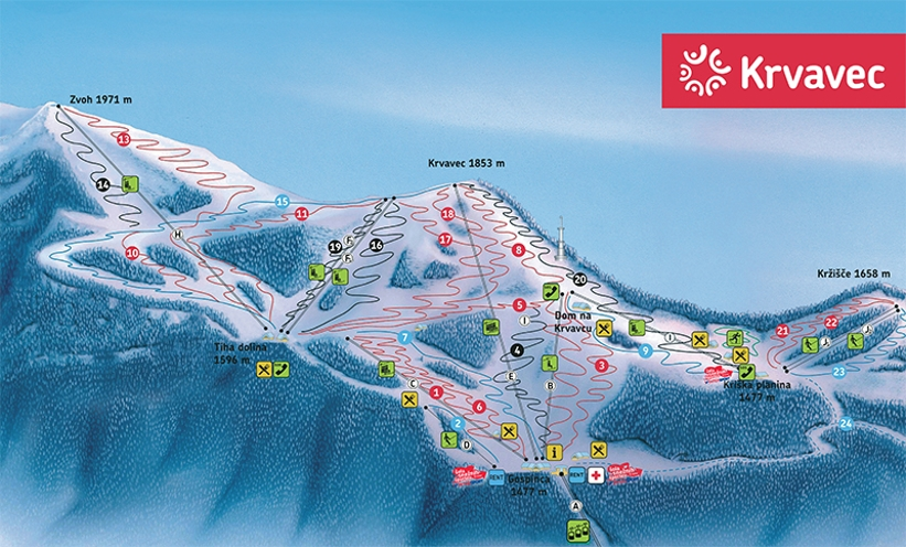 Cable Services In My Area >> Krvavec Piste Map | Skiing in Krvavec Bohinj | - My Chalet Finder