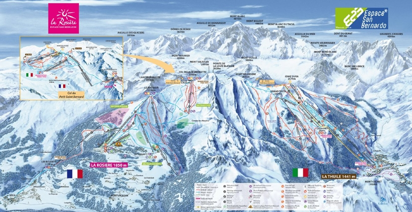 Piste map for La Rosiere