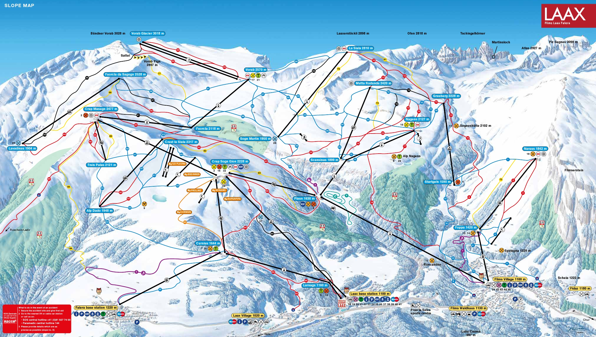 Laax Piste Map White Area Ski Area Map Ski Trails in Laax My