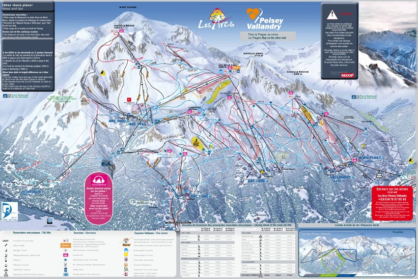 Les Arcs Piste Map Ski Area Trail Map Les Arcs Paradiski My