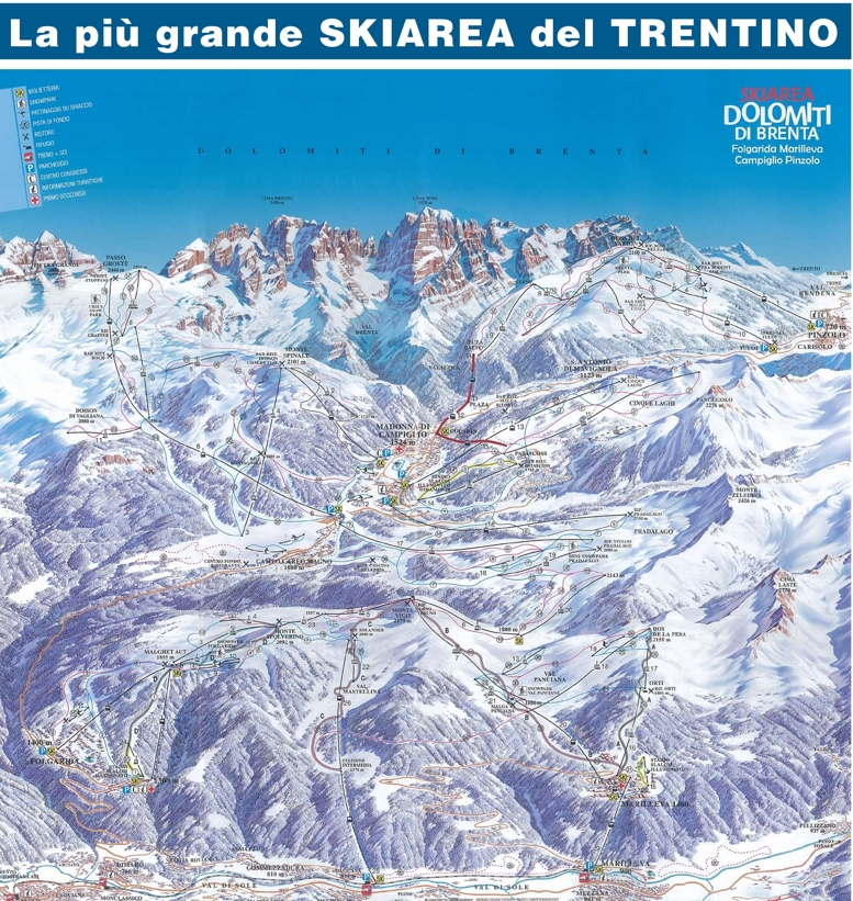 Marilleva900 Piste Map Skiing Val di Sole Skirama Piste Map