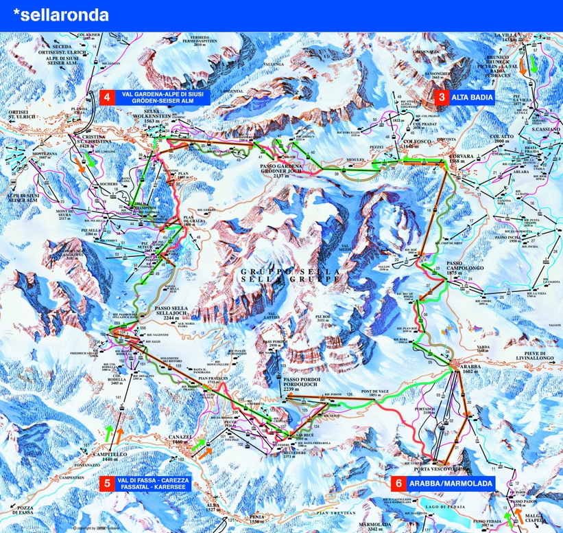 Piste map for San Cassiano