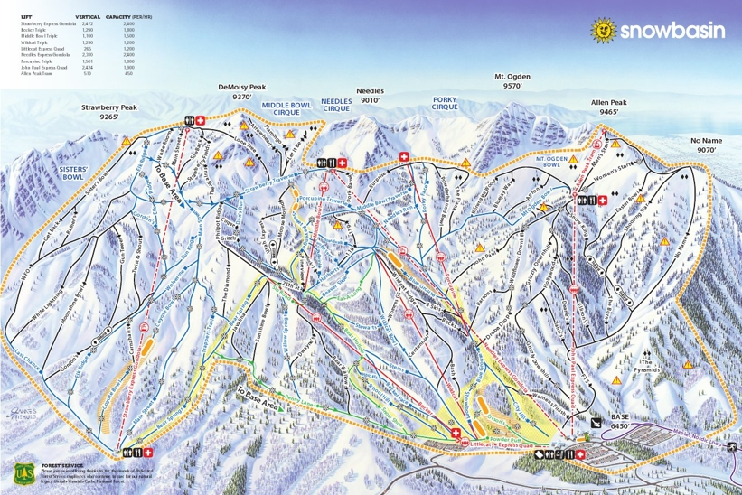 Piste map for Snowbasin