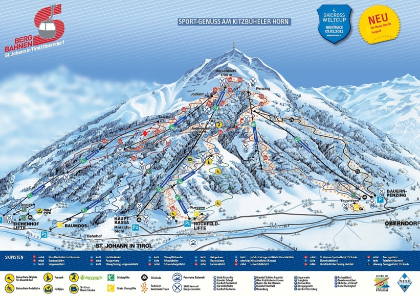 Piste map for St Johann in Tirol