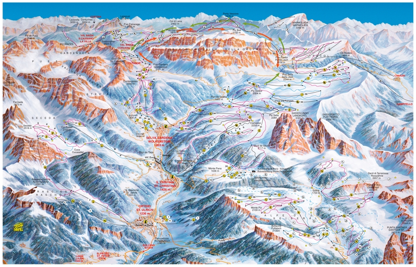 Piste map for Val Gardena-Selva