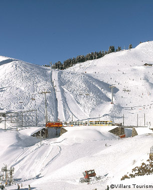 villars ski resort - gryon, switzerland, skiing in villars