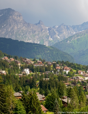 villars with mountains, summer holidays