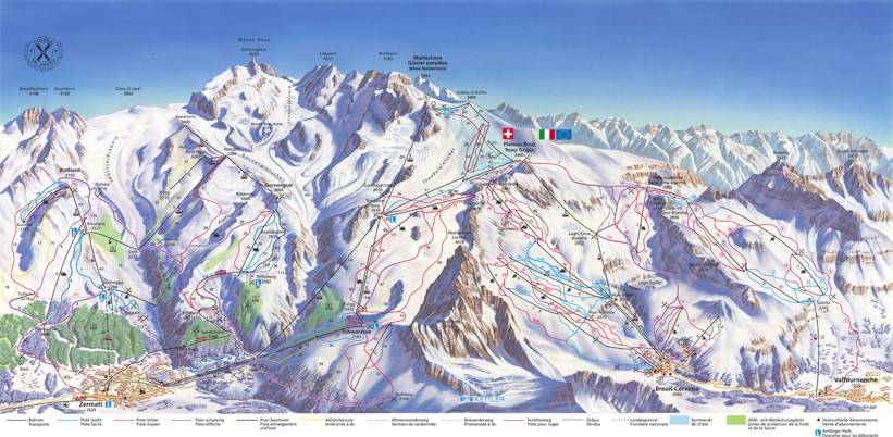 Piste map for Zermatt