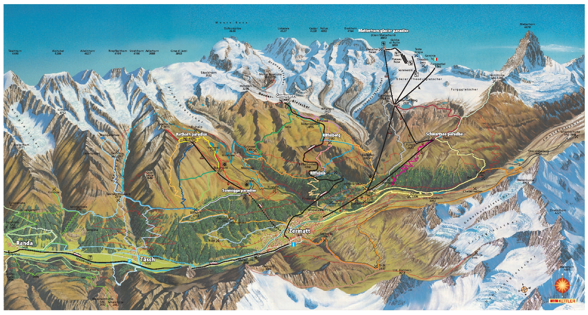 Full Size Piste Map For Zermatt